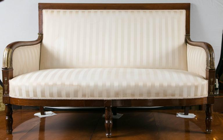 19th Century Mahogany Parcel-Gilt Settee For Sale 2