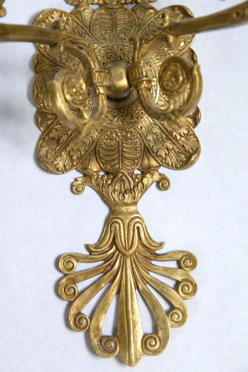 Pair of French Gilt Bronze Sconces For Sale 1