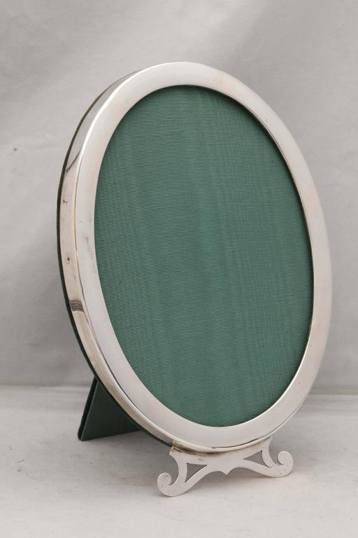 Canadian Art Nouveau Sterling Silver Oval Picture Frame For Sale