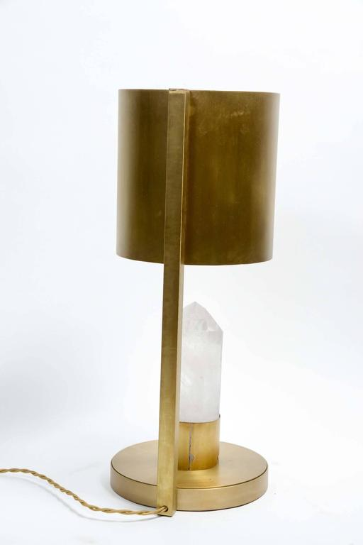 Brass and Rock Crystal Table Lamp For Sale 1