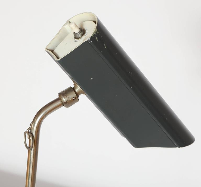 Metal Articulated Counter Balance Table Lamp Sits on Edge of Table, France, 1950s For Sale