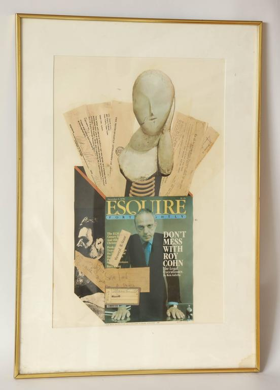 Collage of Brancusi Lawsuit signed Ellery Kurtz presented to Roy Cohn by Andrew Crispo