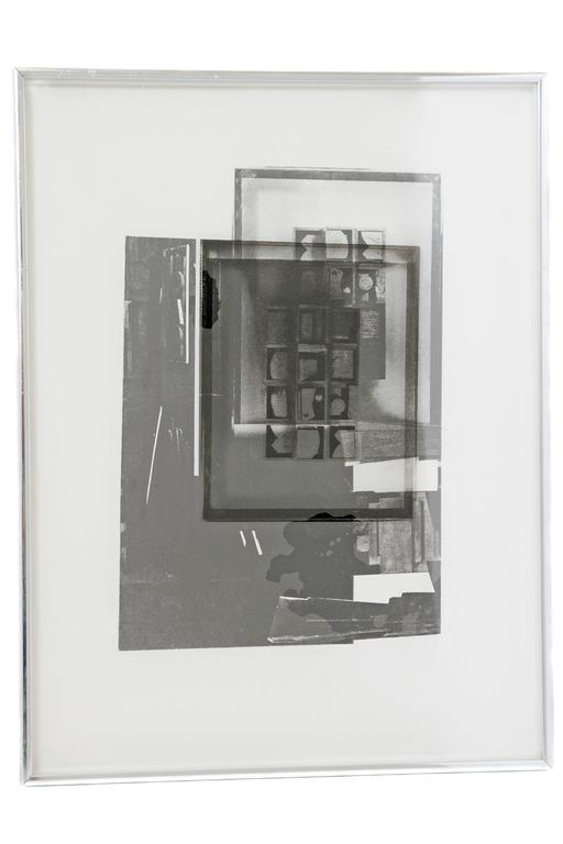 Louise Nevelson, American, 1899-1988.  Four prints from the Facades portfolio, 1966.  Silkscreens with acetate and collage.  Each in a silver toned frame.