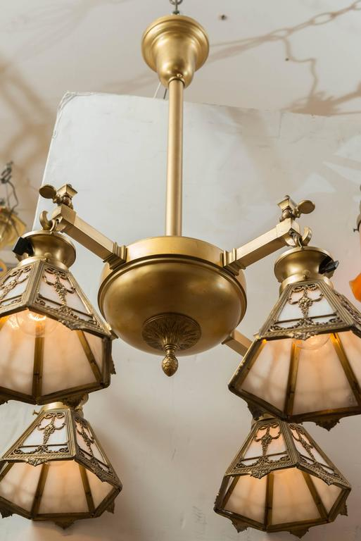 Neoclassical Revival Four-Arm Gilt Bronze Chandelier with Signed, Bradley & Hubbard Shades For Sale