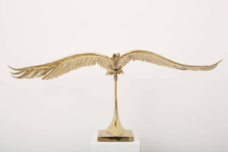 Modern Golden Bronze Sculpture one of a kind  Eagle Signed Piece by J. Duval-Brasseur For Sale