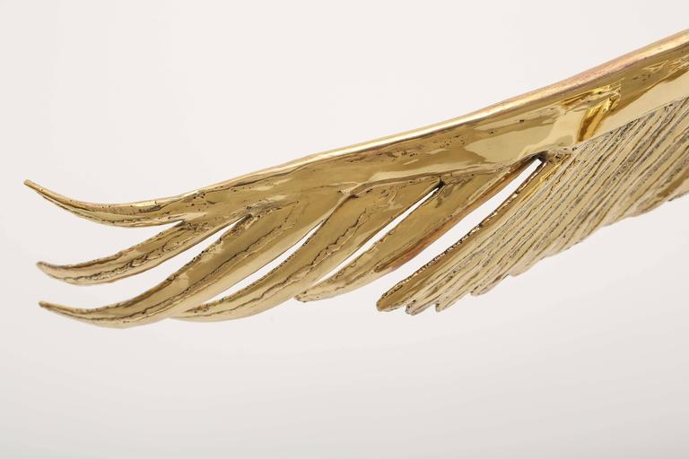 Golden Bronze Sculpture one of a kind  Eagle Signed Piece by J. Duval-Brasseur In Excellent Condition For Sale In Miami, FL
