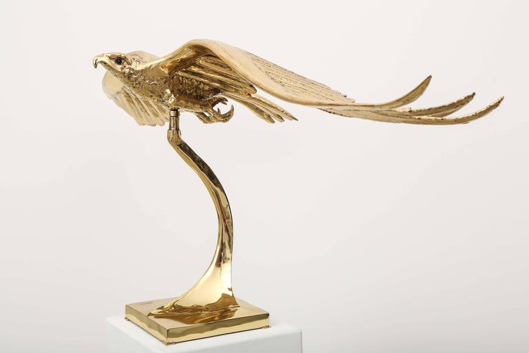 Golden Bronze Sculpture one of a kind  Eagle Signed Piece by J. Duval-Brasseur For Sale 1