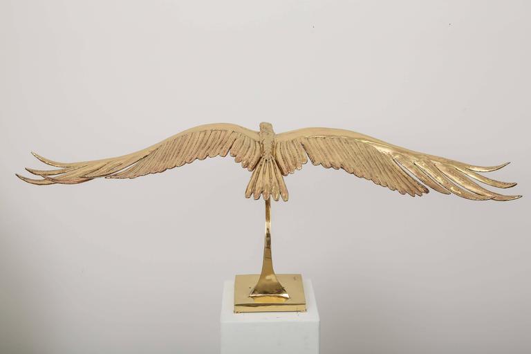 Golden Bronze Sculpture one of a kind  Eagle Signed Piece by J. Duval-Brasseur For Sale 2