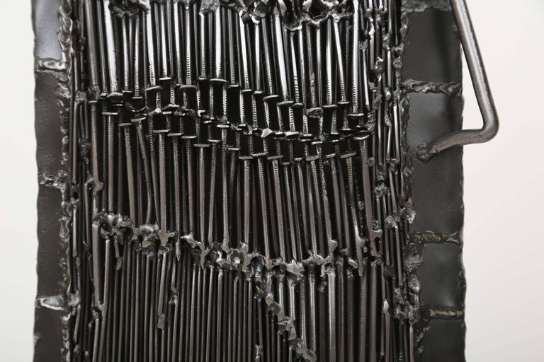 French Mid-Century Iron Brutalist Sculpture by J. Duval Brasseur For Sale