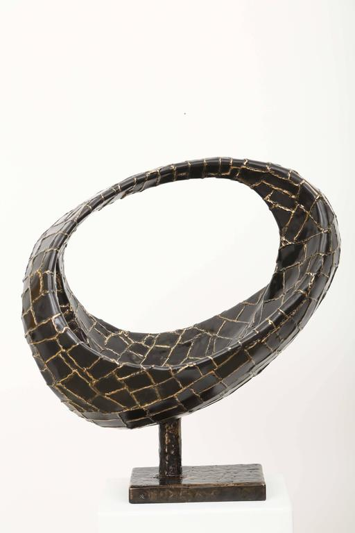 Mid-Century Modern Abstract Ovoïde Bronze Sculpture by Jacques Duval-Brasseur For Sale