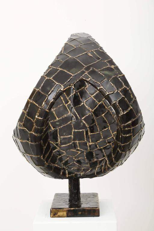 Abstract Ovoïde Bronze Sculpture by Jacques Duval-Brasseur 4