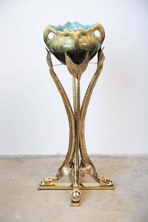 French Bronze Sculpture Planter by Jacques Duval Brasseur Dolphins Supporting the Vase For Sale