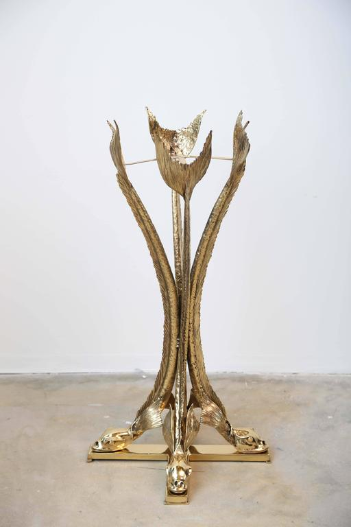 Late 20th Century Bronze Sculpture Planter by Jacques Duval Brasseur Dolphins Supporting the Vase For Sale