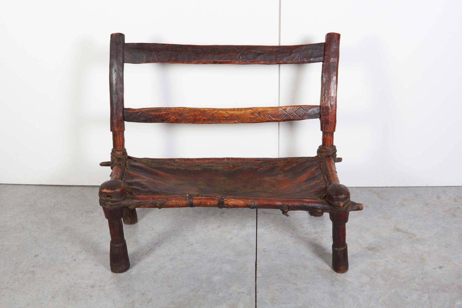 Antique Wood And Leather Bench With Great Patina And Clean
