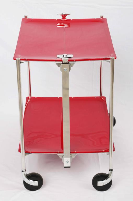 Modern SALE! SALE! SALE !Red Acrylic collepsable Bar Cart ,France,reduced  For Sale
