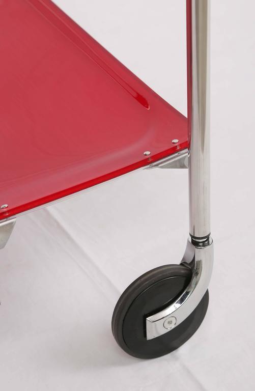 European SALE! SALE! SALE !Red Acrylic collepsable Bar Cart ,France,reduced  For Sale