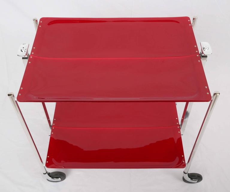 SALE! SALE! SALE !Red Acrylic collepsable Bar Cart ,France,reduced  In Excellent Condition For Sale In Miami, Miami Design District, FL