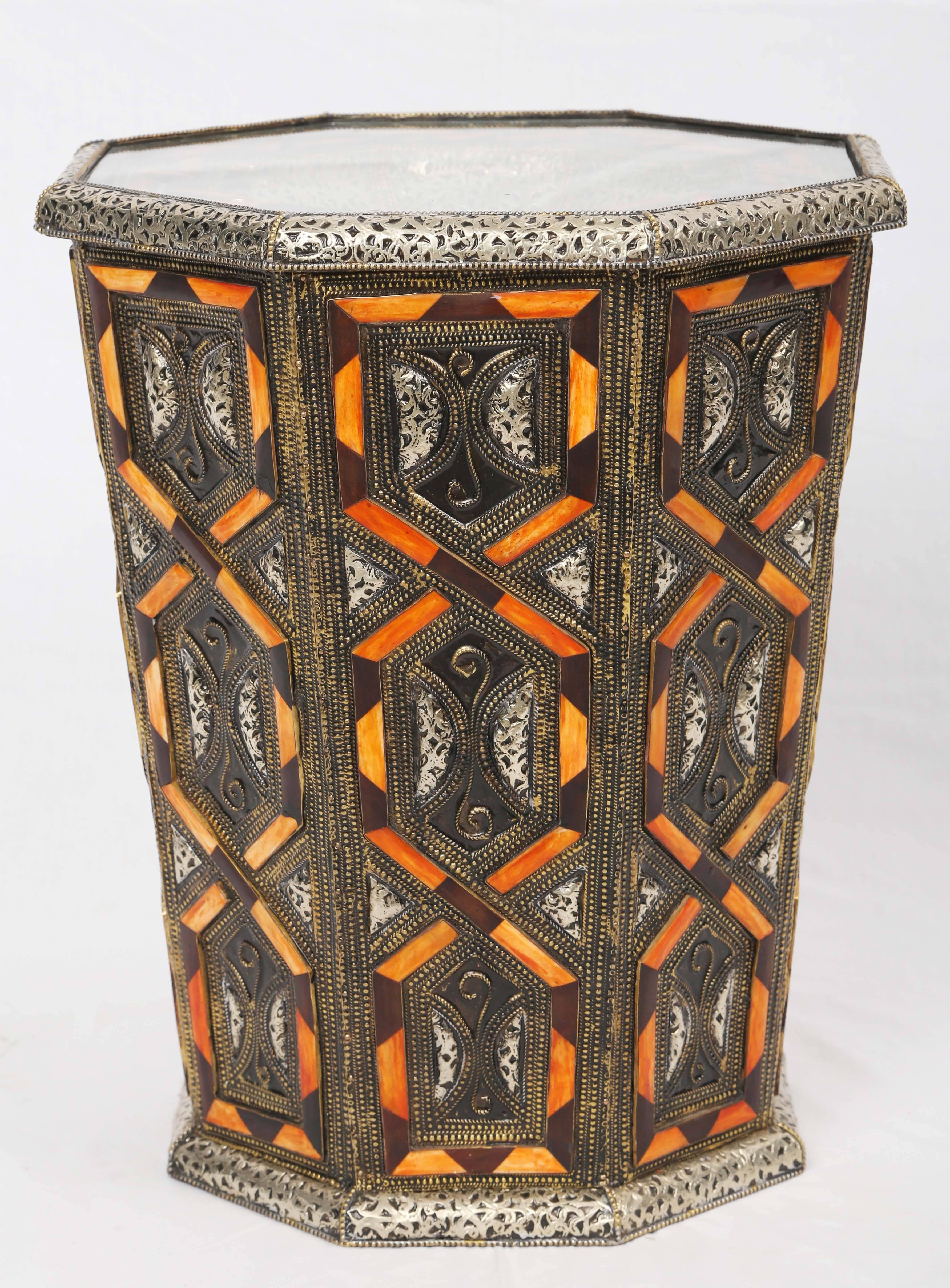 Exceptional 2/pr Moroccan Metal Side Table Inlaid With Orange Or White Faux Bone  Decoration For Sale At 1stdibs