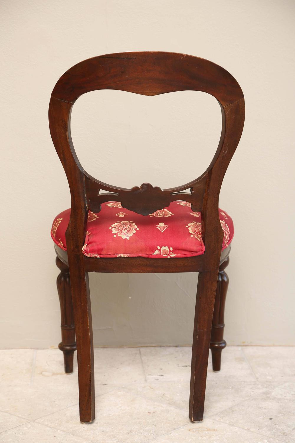 Set Of Six Regency Style Dining Room Chairs Mahogany With Red Gold Upholster