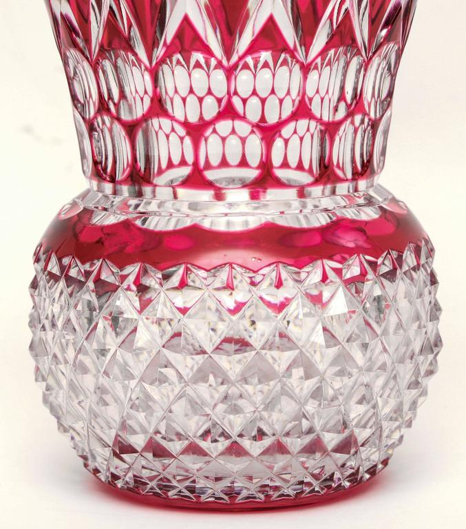 A large and custom piece, possibly done for an exhibition, we have the pleasure of offering for sale this wonderful presentation vase. A Classic signature piece from the storied glass firm of Val Saint Lambert, Belgium with a thumbprint and diamond