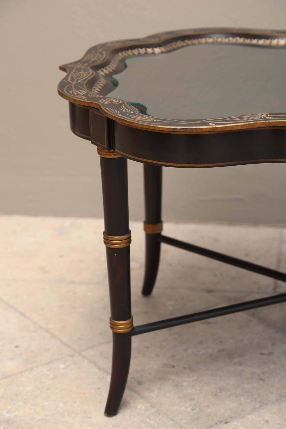 Charming Maitland Smith Hand Painted Ebonized Coffee Table For Sale At 1stdibs