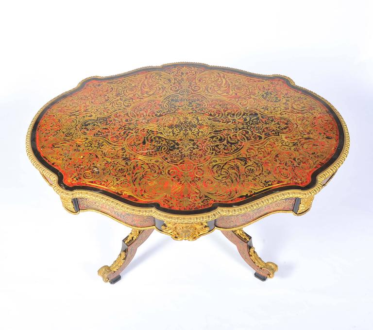 Brass 19th Century Boulle Louis XVI style Inlaid Centre Table For Sale
