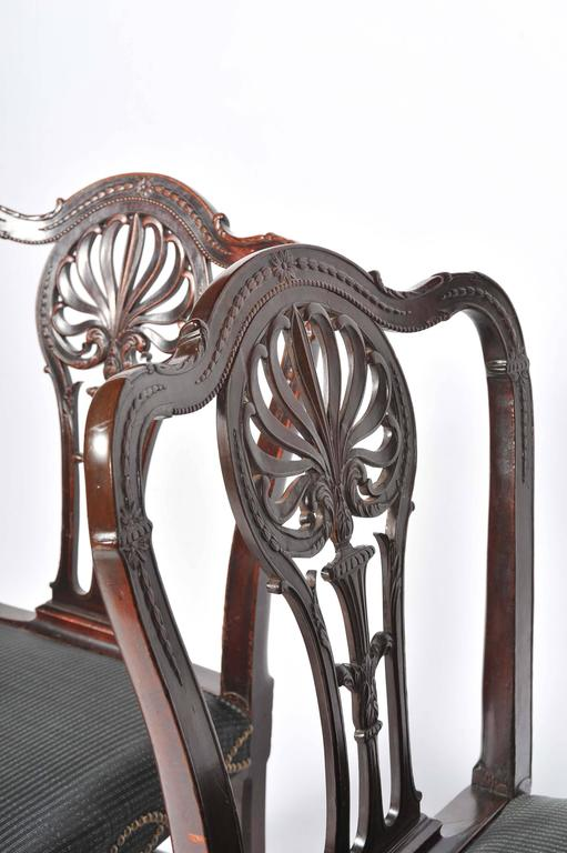 18th Century and Earlier Pair of George III Mahogany Side Chairs For Sale