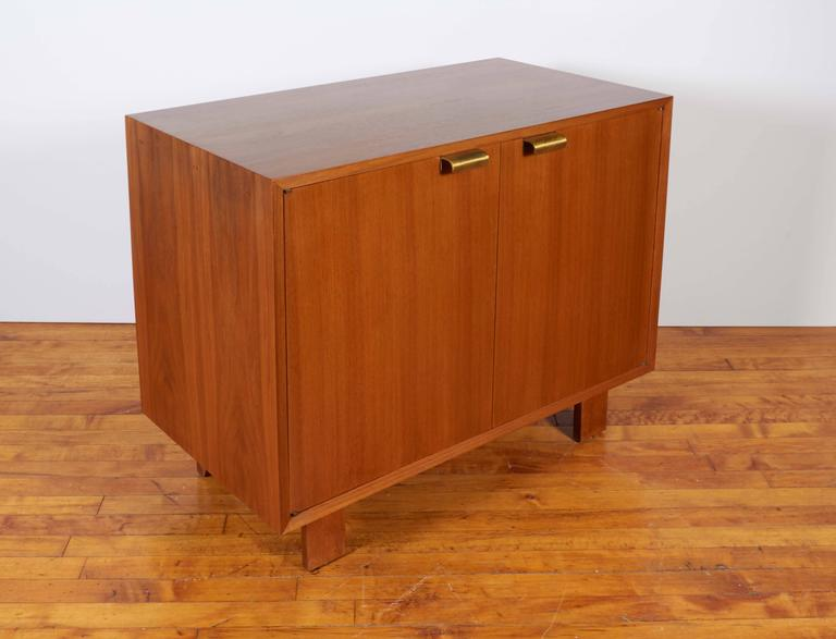 Brass George Nelson Two-Door Walnut Cabinet for Herman Miller For Sale