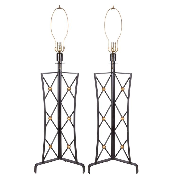 Pair of Jean Royère Style 'Tour Eiffel' Wrought Iron Table Lamps