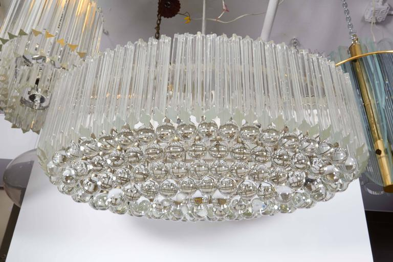 Metal Venini Quatro Punta Prism Oval Chandelier with Crystal Balls For Sale