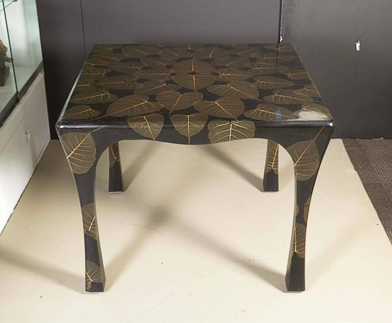 MidCentury Modern Asian Inspired Black Lacquer Card Table With Leaf - Mid century modern card table