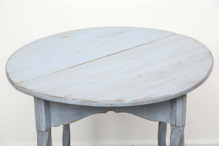 Antique Swedish Painted Small Round Drop Leaf Table, Mid 19th Century
