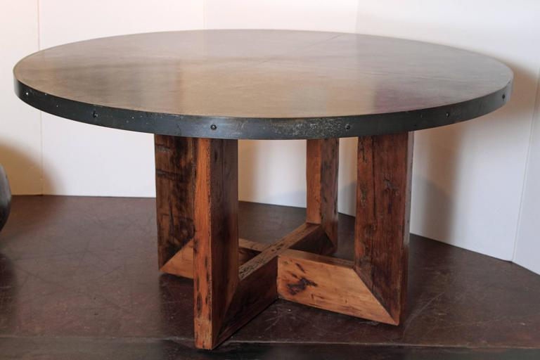 Steel Banded Zinc Top Dining Table At 1stdibs