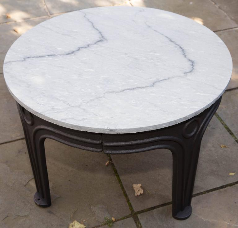 American industrial cast iron base table with marble top for Cast iron table base marble top