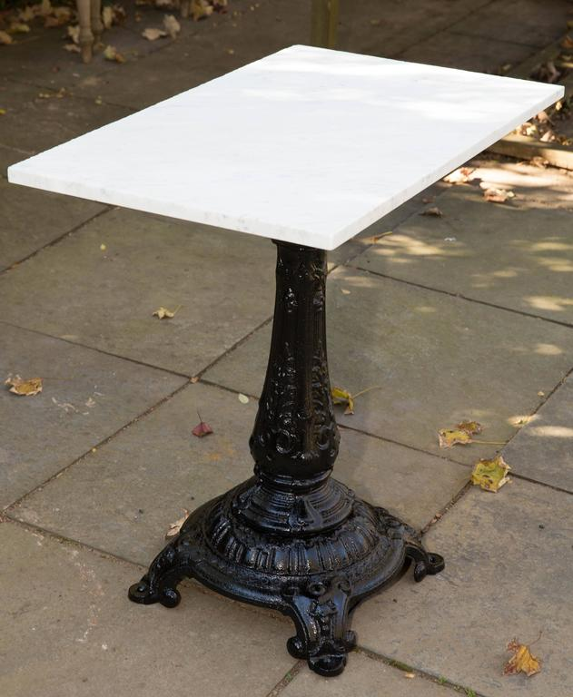 Marble Top Cast Iron Base English 19th Century Pub Table For 2