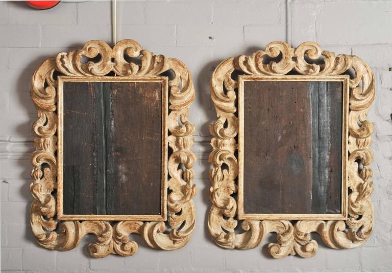 Pair Of 17th Century Italian Baroque Carved Wood Frames