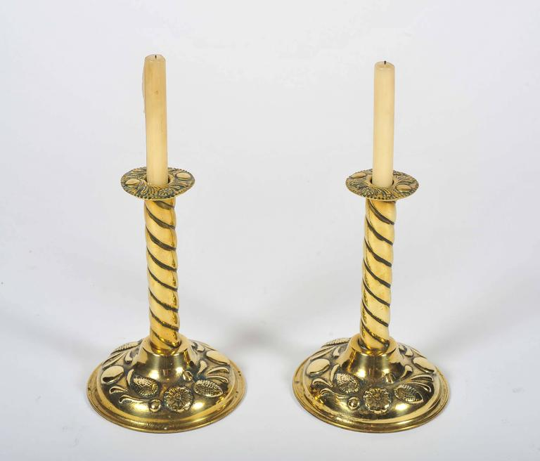 Country Brass Candlesticks, 19th Century, Twisted Stems and Decorative Rims and Bases For Sale
