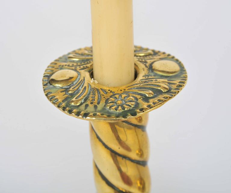 Brass Candlesticks, 19th Century, Twisted Stems and Decorative Rims and Bases For Sale 1
