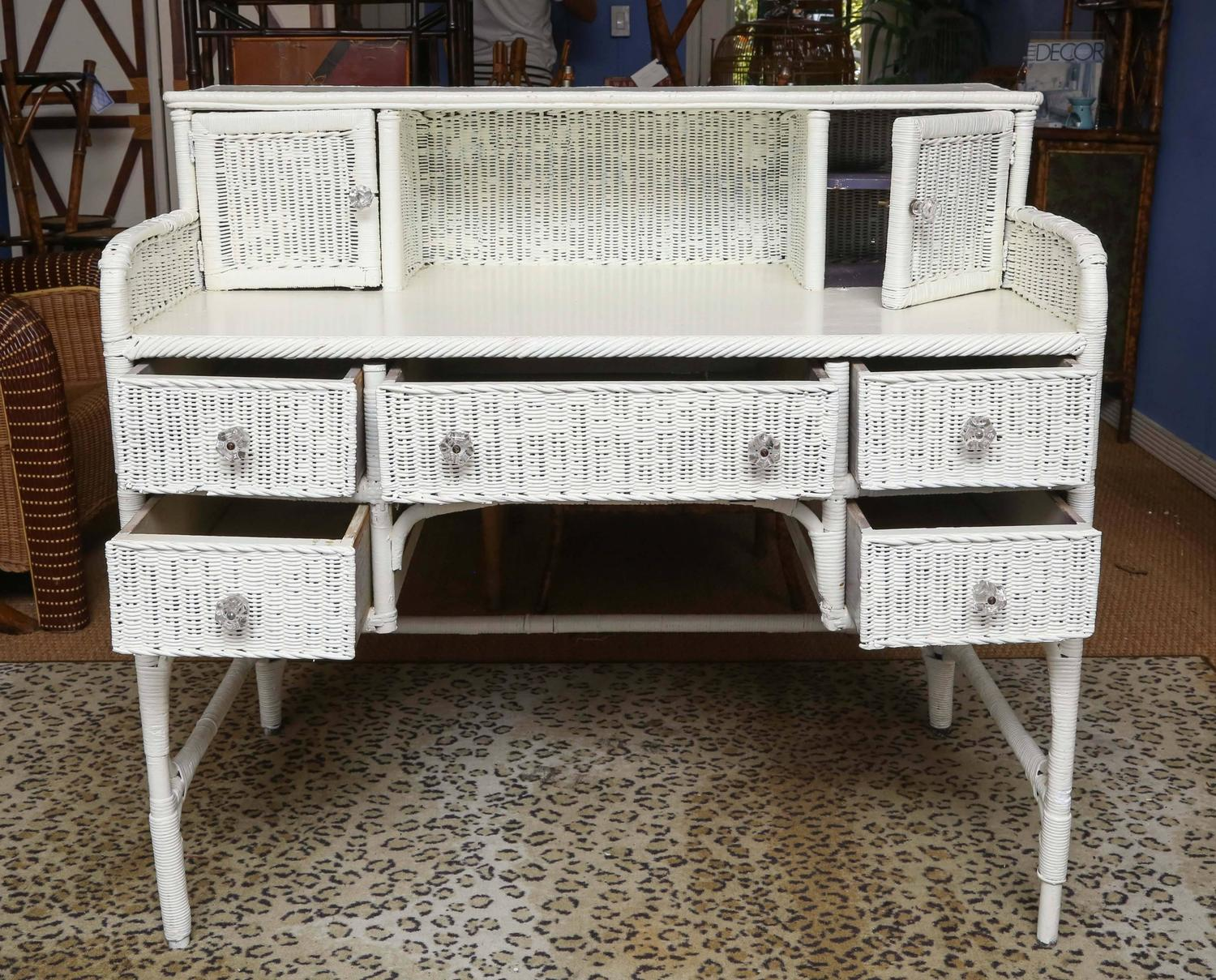 Sweet Vintage Wicker Writing Desk For Sale At 1stdibs