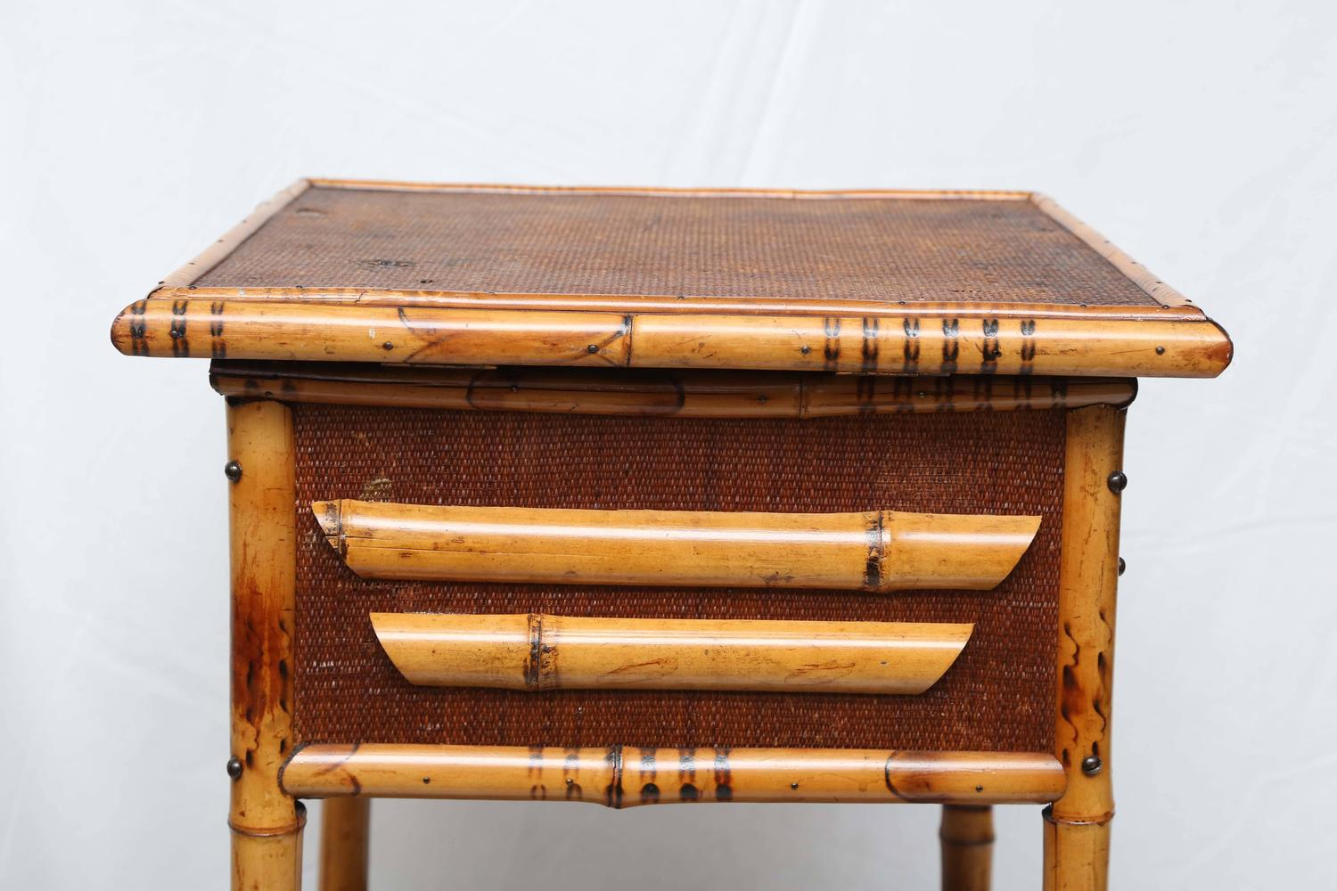 Sweet bamboo and rattan sewing side table for sale at 1stdibs for Bamboo side table