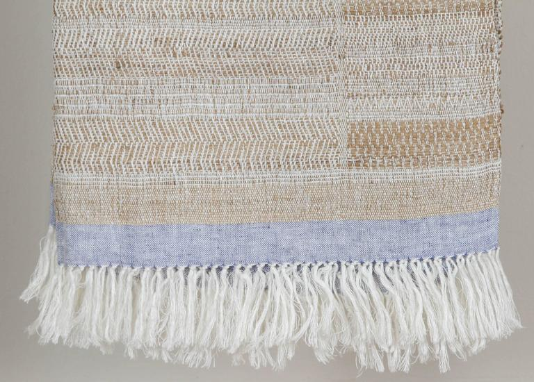A contemporary line of cushions, pillows, throws, bedcovers, bedspreads and yardage handwoven in India on antique Jacquard looms. Handspun wool, cotton, linen, and raw silk give the textiles an appealing uneven quality.  The above throw is linen and