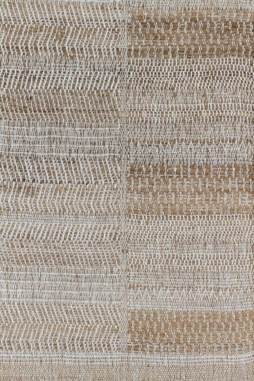 Hand-Woven Indian Handwoven Throw Oatmeal, Ivory and Light Blue, Linen and Raw Silk For Sale
