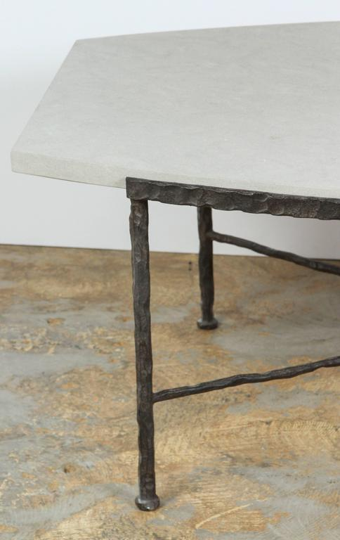Modern Paul Marra Ellipse Cocktail Table in Textured Iron and Bateig Blue Stone For Sale