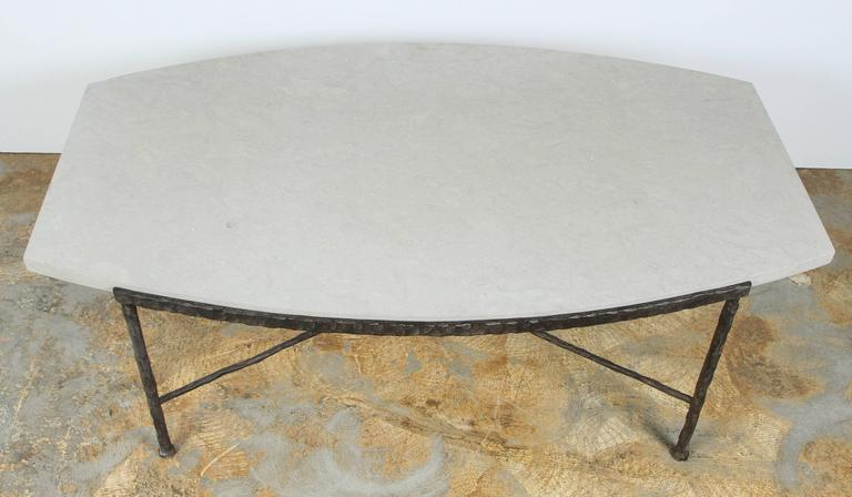 Contemporary Paul Marra Ellipse Cocktail Table in Textured Iron and Bateig Blue Stone For Sale