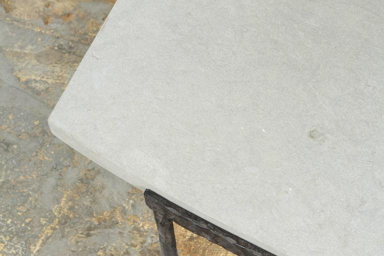 Paul Marra Ellipse Cocktail Table in Textured Iron and Bateig Blue Stone For Sale 1