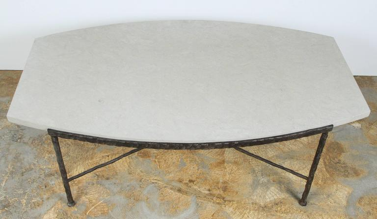 Paul Marra Ellipse Cocktail Table in Textured Iron and Bateig Blue Stone For Sale 2