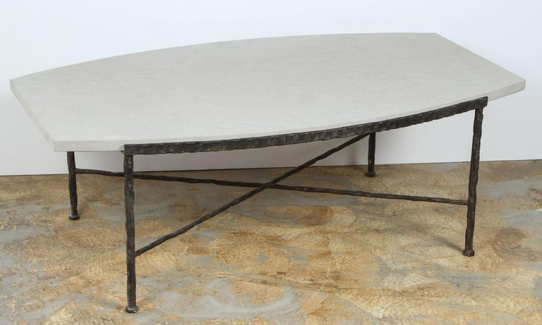 Paul Marra Ellipse Cocktail Table in Textured Iron and Bateig Blue Stone For Sale 3