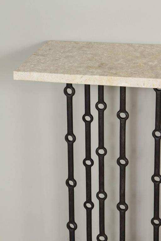 Modern Paul Marra Iron Console with Coral Stone For Sale