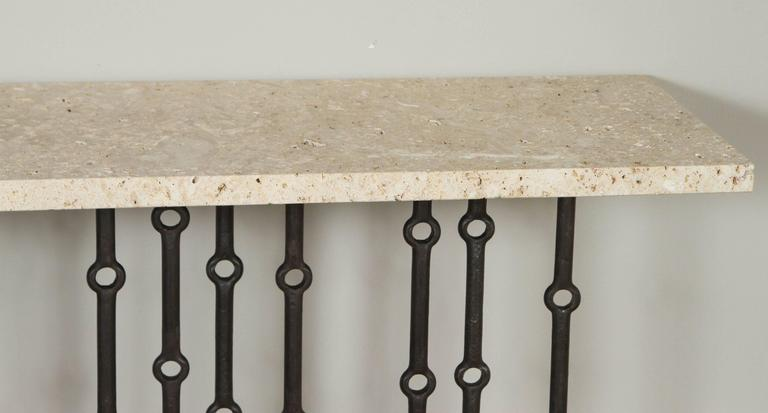 American Paul Marra Iron Console with Coral Stone For Sale