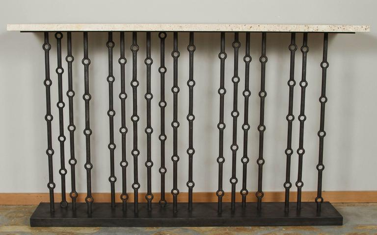 Contemporary Paul Marra Iron Console with Coral Stone For Sale